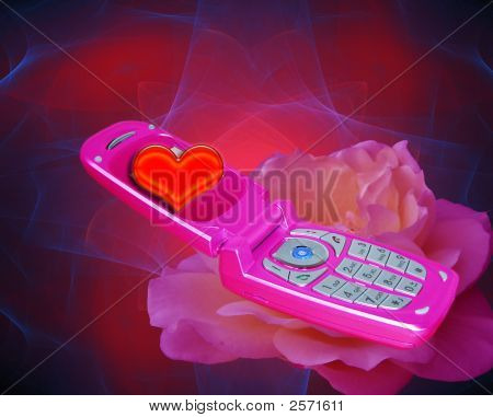 Pink Cell Phone With Valentine Heart Design