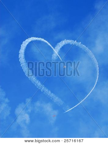 Vintage Aircraft Sky Writing Romantic Heart Shape poster
