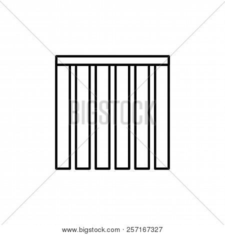 Vector Illustration Of Closed Vertical Blind. Line Icon Of Window Shade & Jalousie. Front View. Isol