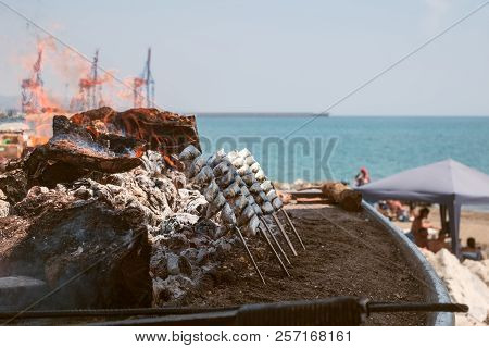 Sardines Grilled On The Beach. Traditional