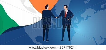 Ireland International Partnership. Diplomacy Negotiation. Business Relationship Agreement Handshake.