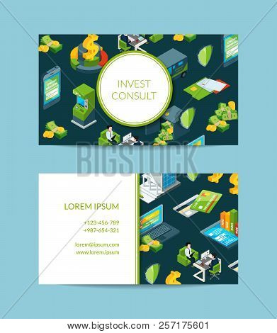 Vector Isometric Money Flow In Bank Business Card Template For Bank Or Finance Investment And Consul