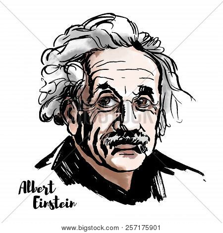 Albert Einstein Watercolor Vector Portrait With Ink Contours. The Theoretical Physicist Who Develope