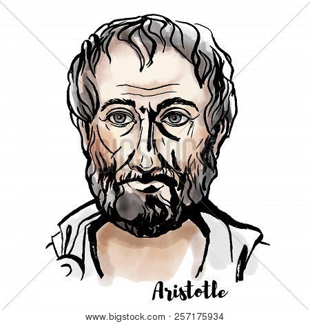 Aristotle Watercolor Vector Portrait With Ink Contours. Ancient Greek Philosopher And Scientist.