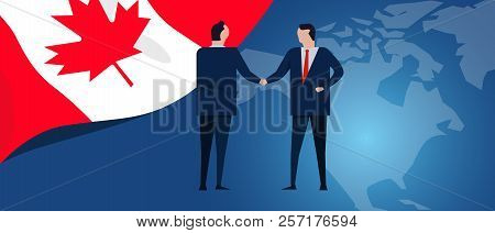 Canada International Partnership. Diplomacy Negotiation. Business Relationship Agreement Handshake.