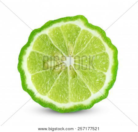 This Is Kaffir Lime On White Background