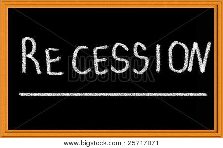 Recession Written on Chalkboard