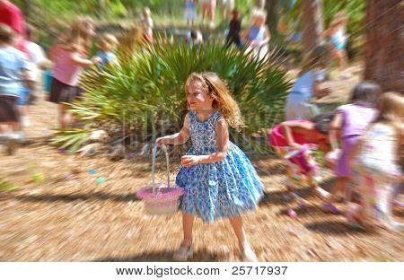Happy Girl at Easter Egg Hunt