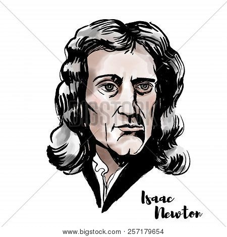 Isaac Newton watercolor vector portrait with ink contours. English mathematician, astronomer, theologian, author and physicist. poster