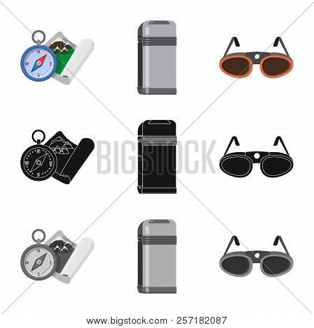 Isolated Object Of Alpinism And Peak Icon. Collection Of Alpinism And Camp Vector Icon For Stock.