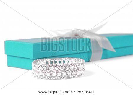 Beautiful diamond bracelet beside elegant gift box