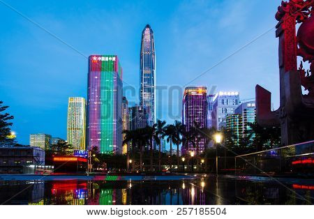 Shenzhen, China - July 16, 2018: Shenzhen Urban Cityscape Of New City Modern Downtown Area At Blue H