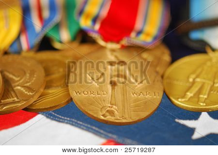 WWII veteran's medals and ribbons