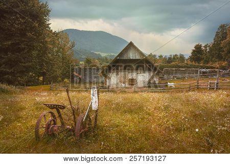 The nostalgic farm in the natural reserve of Planinsko polje poster