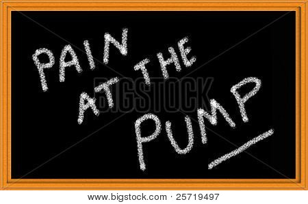 Pain at the Pump Written on chalkboard