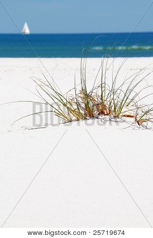 Bright white beach sand with sawgrass and sailboat in distance