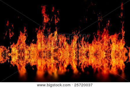 Wall of fire burning over water pool