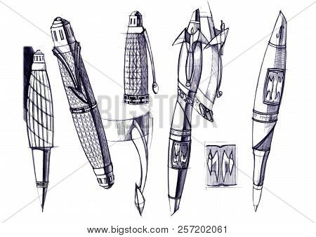 Draft Sketch Development Of The Design Of An Exclusive Pen And Ballpoint Pen.