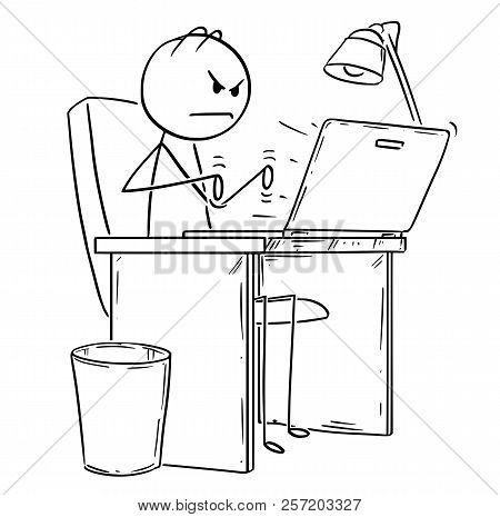 Cartoon Stick Drawing Conceptual Illustration Of Angry Man Or Businessman Working Or Typing In Offic