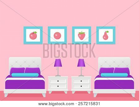 Hotel Room. Vector. Bedroom Interior With Two Single Beds. Modern Home Space With Furniture In Flat