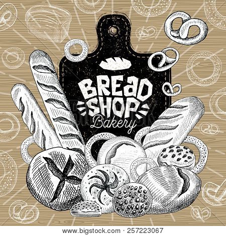Bread Shop Market, Logo Design, Healthy Food Shop. Bakery, Bread, Baguette, Bagel, Bun, Loaf, Bakery