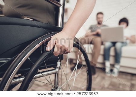 Disabled Soldier In A Wheelchair. Disability Problem. After War Concept. Camouflage Uniform. Paralyz