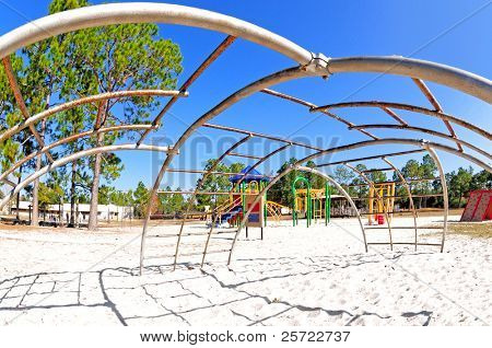 Wide angle view fron underneath jungle gym