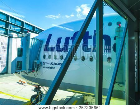 Frankfurt, Germany - April 28, 2018: Aircraft Line Lufthansa Airbus A380 Ready For Departure. A380 I