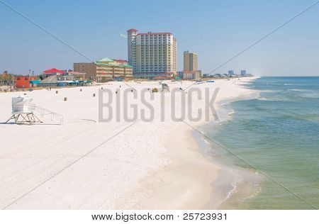 PENSACOLA BEACH - MARCH 3: Pensacola Beach, Florida with its emerald water and white beaches is a popular vacation resort, seen here on March 3, 2010 prior to the influx of Spring Break tourists.