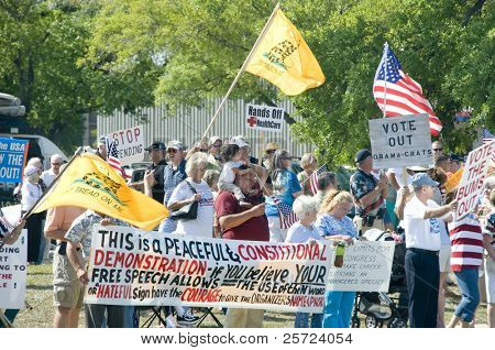 PENSACOLA - APRIL 15:  An estimated 1000 tax day Tea Party protesters peacefully assembled to voice their concern over government spending on April 15, 2010 in Pensacola, Florida.