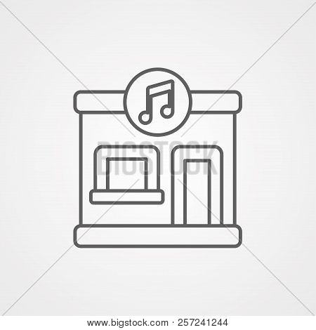 Online Music Store Vector Line Icon Isolated On White Background. Online Music Store Line Icon For I