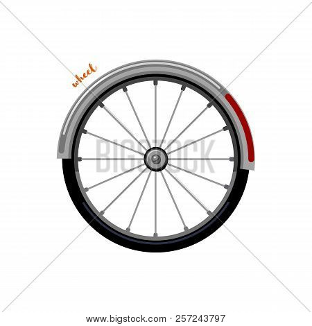 Urban Family Bike Wheel. Bicycle Accessory Flat Vector. Urban Bicycle Wheel, Leasure And Sport Trans