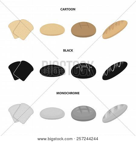 Toast, Pizza Stock, Ruffed Loaf, Round Rye.bread Set Collection Icons In Cartoon, Black, Monochrome