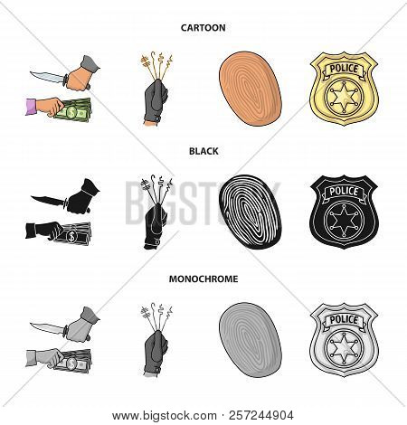 Robbery Attack, Fingerprint, Police Officer's Badge, Pickpockets.crime Set Collection Icons In Carto