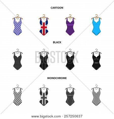 Different Kinds Of Swimsuits. Swimsuits Set Collection Icons In Cartoon, Black, Monochrome Style Vec
