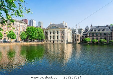 City Center Of Den Haag - Mauritshuis And With Reflections In Pond, Netherlands
