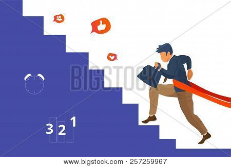 Overcome Challenge Vector Illustration: Resilient Businessmen With Ambitious Goals Climbing Career S