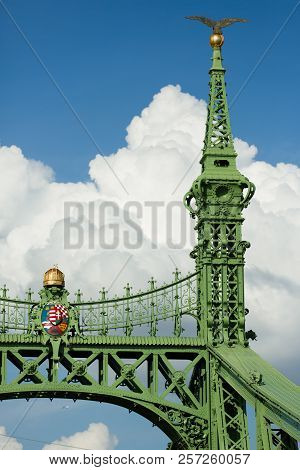 Budapest Famous Freedom Bridge Detail, Green Painted Iron Base, Crown And Shield With Crest, And Gol