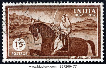 India - Circa 1957: A Stamp Printed In India Shows Laxmibai, Rani Of Jhansi, Centenary Of The Strugg