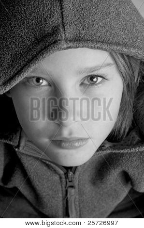 girl looking serious in jacket
