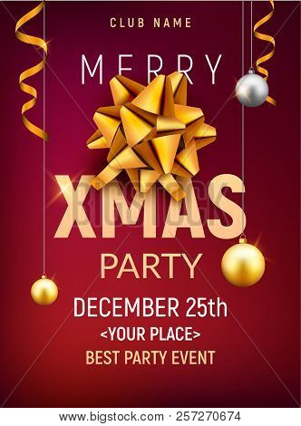 Christmas Party Poster Template. Christmas Gold Silver Balls And Golden Bow Flyer Decoration Invitat