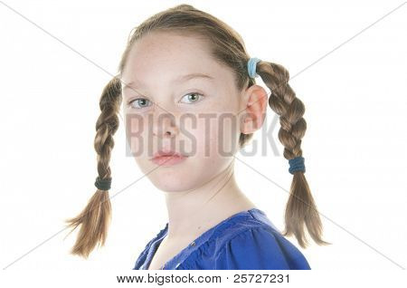 girl looking serious in braids