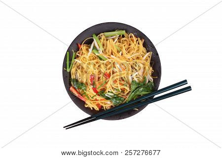 Isolated Of Auspicious Food Festival Of Chinese People,fried Chinese Noodle With Vegetable,organic F