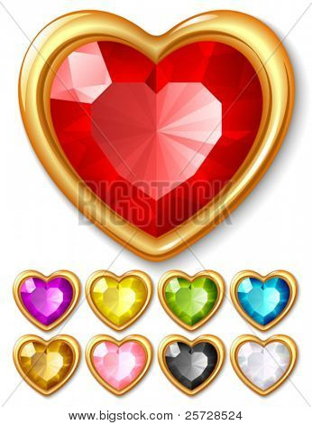 Vector jewel hearts