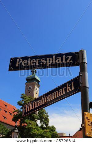Viktualienmarkt-Petersplatz in Munich-Germany.