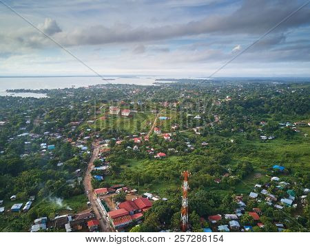 Bluefields town in nicaragua aerial drone view poster