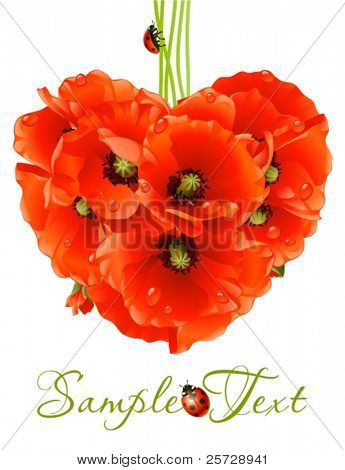 Floral love card (poppy heart)
