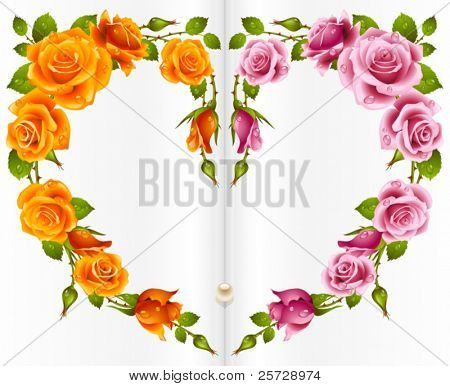 Vector yellow and pink Rose frame in the shape of heart