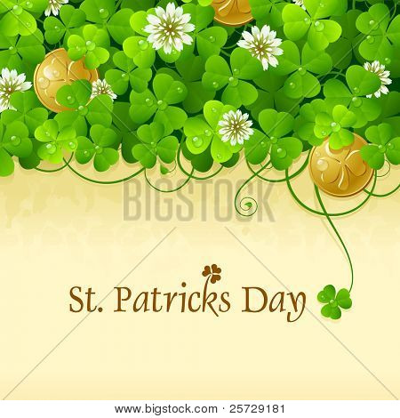 Patrick's Day frame with clovers and golden coins, contains space for your text. 5