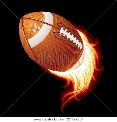 Vektor fliegen flammenden American-Football-Kugel auf schwarzem Hintergrund